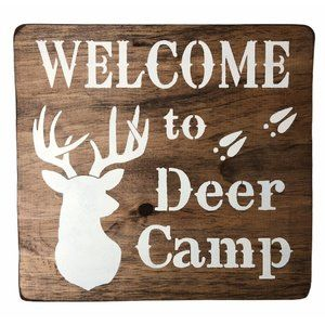 NEW Welcome to Deer Camp Handmade Real Wood Sign